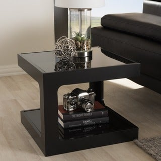 Baxton Studio Clara Black Modern End Table with 2 Glass Shelves