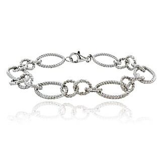 Mondevio Sterling Sterling Silver Oval Rope Link Bracelet