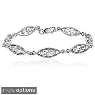 Mondevio Sterling Silver Paisley Link Bracelet