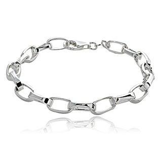 Mondevio Sterling Silver Oval Link Bracelet