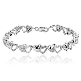 Mondevio Sterling Silver Double Hearts Link Bracelet