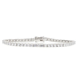 Renee's Sterling Silver Cubic Zirconia and Created Sapphire Tennis Bracelet