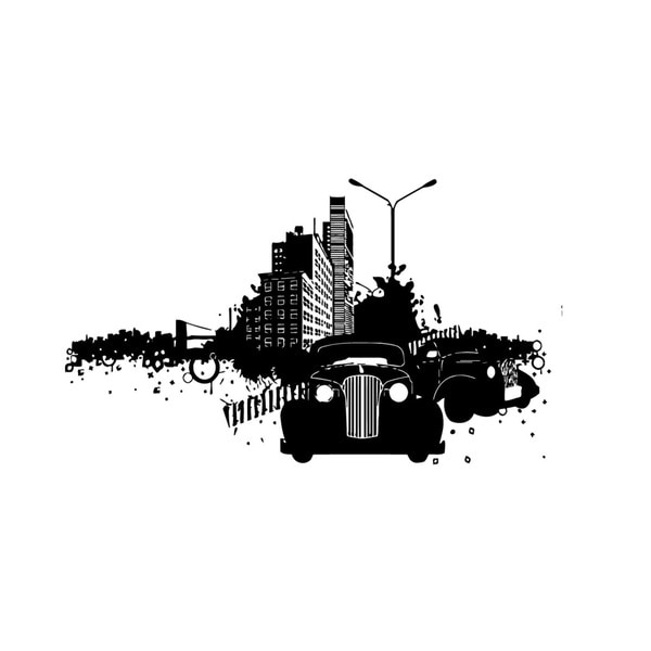 Retro City Vinyl Wall Art Decal