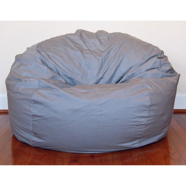 Light Grey Cotton Twill 36-inch Washable Bean Bag Chair