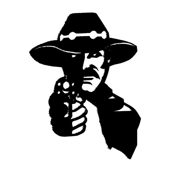 Wild West Man with Gun Vinyl Wall Art Decal