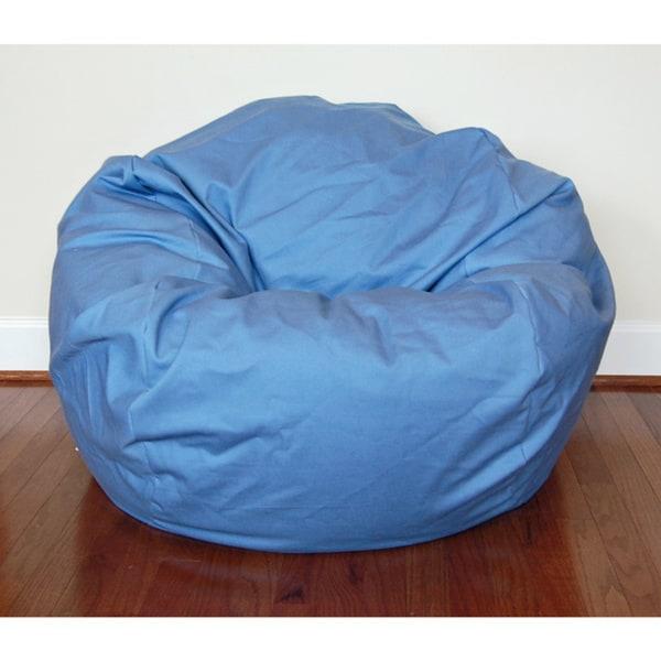 Dusty Blue Cotton Twill 36-inch Washable Bean Bag Chair
