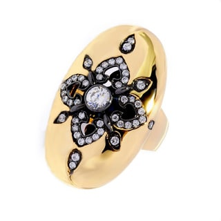 Sonia Bitton Yellow Gold/ Rhodium Plated Sterling Silver CZ Floral Oval Ring