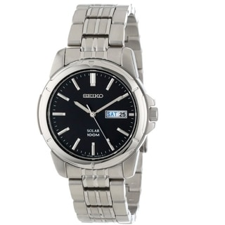 Seiko Men's SNE093 Stainless Steel Black Dial Day Date Watch