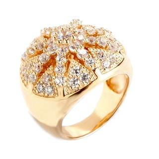 Sonia Bitton Yellow Goldplated Sterling Silver Cubic Zirconia Starburst Ring