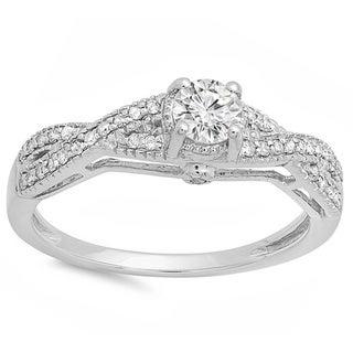 14k White Gold 1/2ct Round-cut Diamond Braided Engagement Ring (H-I, I1-I2)