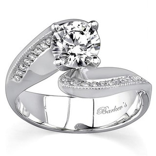 Barkev 14k White Gold 7/8ct Diamond Designer Bypass Engagement Ring (F-G, SI1-SI2)