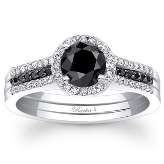 Barkev 14-k White Gold 7/8ct TDW Black/ White Diamond Engagement Ring (F-G, SI1-SI2)
