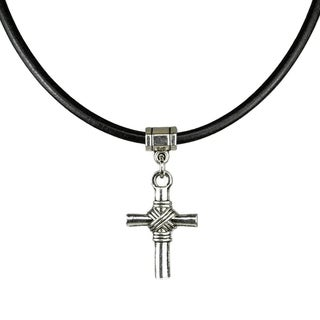 Jewelry by Dawn Pewter Unisex Cross and Greek Leather Necklace