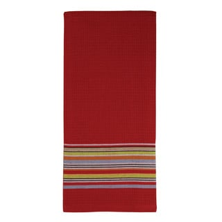 MUkitchen Red Waffle Stripe Cotton Towel
