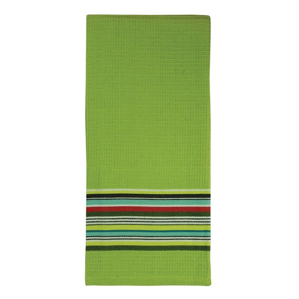 Lime Waffle Stripe Cotton Towel