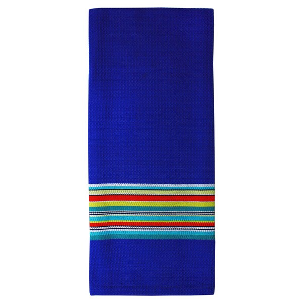 MUkitchen Blue Waffle Stripe Cotton Towel