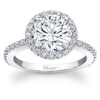Barkev 14k White gold 1 1/2ct TDW Round Diamond Halo Engagement Ring (F-G, SI1-SI2)