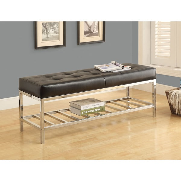 Monarch Black Leather-look/Chrome Metal 48-inch Bench