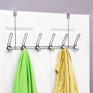 Chrome/ Crystal 12-hook Steel Over-the-Door Hanger
