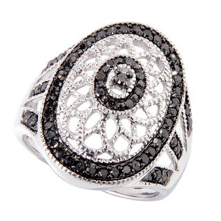 Sterling Silver 1/2ct TDW Black Diamond Lace Ring (I2-I3)