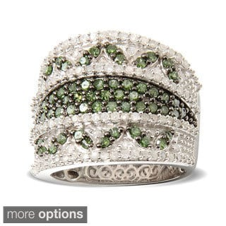 Sterling Silver 1 1/2ct TDW Green/ White Pave Diamond Wide-band Ring (H-I,I2-I3)
