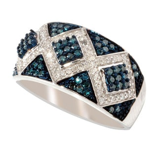 Sterling Silver 1/2ct TDW Blue/ White Pave Diamond Ring (H1,I2-I3)