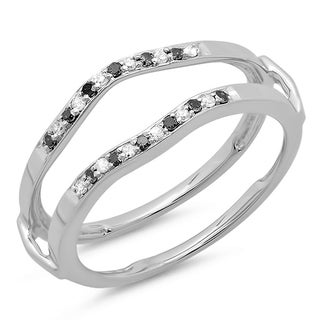 14k White Gold 1/6ct TDW White/ Black Diamond Wrap Guard Ring (H-I, I1-I2)