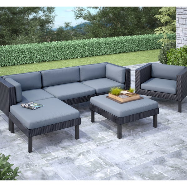 6 Lounging Chairs For Outdoors CorLiving Oakland 6 Piece Sofa With Chaise Lounge And Chair Patio Set