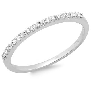 14k White Gold 1/6ct TDW Diamond Stackable Wedding Band (I-J, I2-I3)