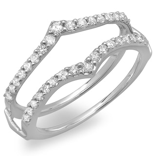 14k White Gold 1/2ct TDW Diamond Wrap Guard Ring