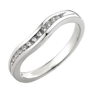 14k White Gold 1/5ct TDW Diamond Channel-set Curved Wedding Band