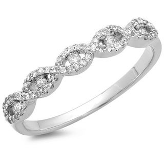 14k White Gold 1/4ct TDW Vintage Braided Style Diamond Wedding Band (I-J, I2-I3)