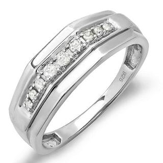 Sterling Silver 1/4ct TDW Diamond Men's Wedding Anniversary Band (I-J, I2-I3)