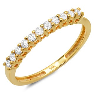 14k Yellow Gold 1/3ct TDW Prong-set Round Diamond Wedding Band (I-J, I2-I3)
