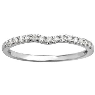 14k White Gold 1/4ct TDW Round Diamond Curved Wedding Band (I-J, I2-I3)