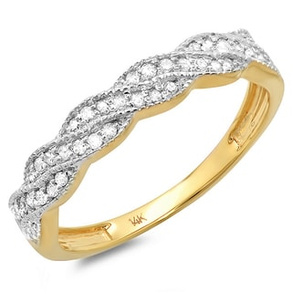 14k Two-tone Gold 1/4ct TDW Diamond Ring Band (H-I, I1-I2)