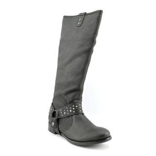 All Black Women's 'Harness Stud ' Leather Boots