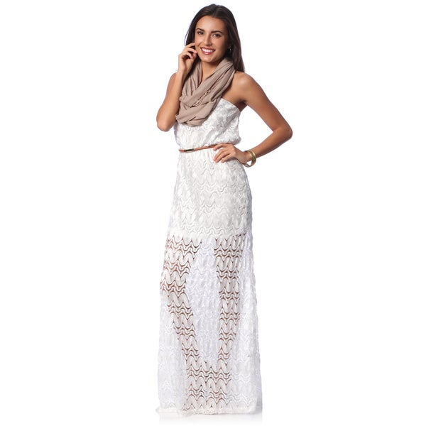 Hadari Women's White Crochet Maxi Dress with Bonus Scarf