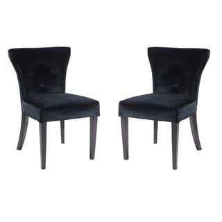 Elise Black Velvet Flared-back Side Chair (set of 2)