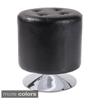 Ruby Round Bonded Leather Ottoman