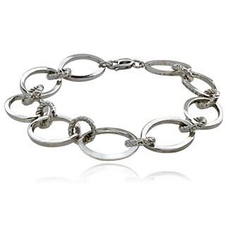 Mondevio Sterling Silver Oval and Rope Design Link Bracelet