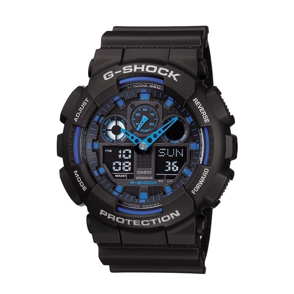 Casio 'G-Shock' Men's Black/ Blue Alarm Watch 12795958