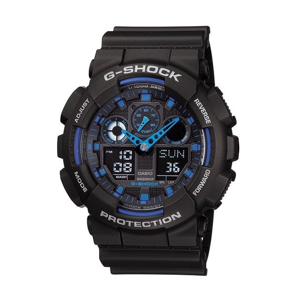 Casio 'G-Shock' Men's Black/ Blue Alarm Watch