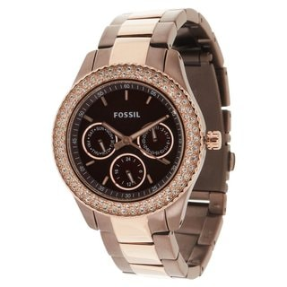 Fossil Women's 'Stella' Brown Rose Goldtone Watch
