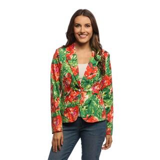 Women's Floral Print Cutaway Blazer