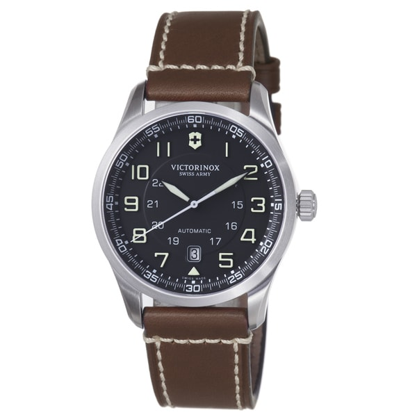 Swiss Army Men's 241507 'Air Boss' Black Dial Brown Leather Strap Automatic Watch 12795986
