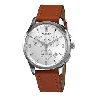 Swiss Army Men's 241480 'Alliance' Silver Dial Tan Leather Strap Quartz Watch