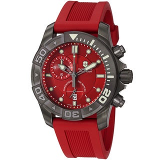 Swiss Army Men's 241422 'Dive Master' Red Dial Red Rubber Strap Chronograph Watch