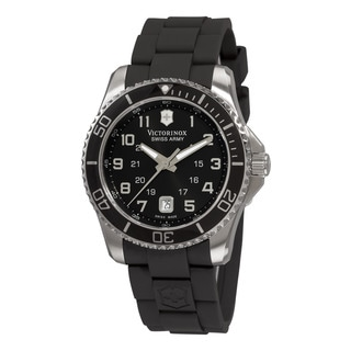 Swiss Army Men's 241435 'Maverick' Black Dial Black Rubber Strap GMT Watch