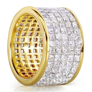 Annello 18k Yellow Gold 10 1/2ct TDW Invisible Set Princess Diamond Eternity Anniversary Band (G-H, VS1-VS2)